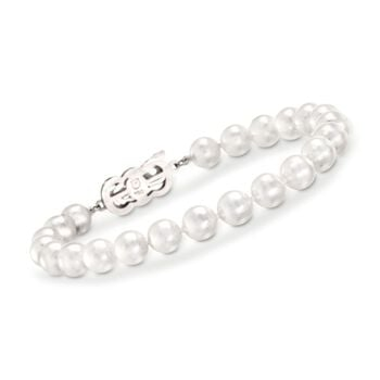 "Mikimoto 7-8mm A1 Akoya Pearl Necklace, Bracelet and Studs Set in 18-Karat White Gold. 18"", , default"