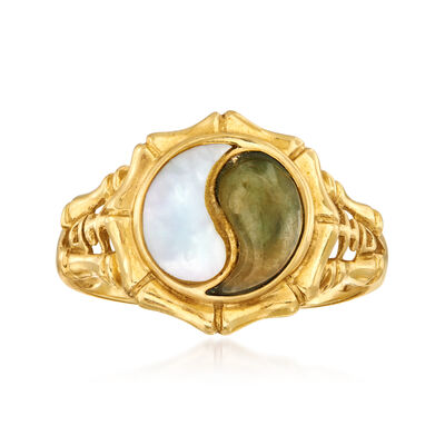C. 1980 Vintage Mother-Of-Pearl and Gray Jade Yin-Yang Ring in 14kt Yellow Gold, , default