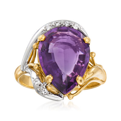 C. 1980 Vintage 4.65 Carat Amethyst Ring with Diamond Accents in 18kt Two-Tone Gold