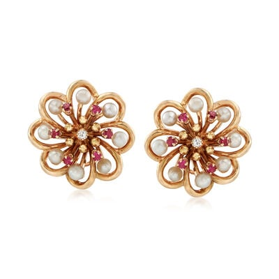 C. 1980 Vintage 3.5mm Cultured Pearl and 1.10 ct. t.w. Ruby Flower Clip-On Earrings with Diamonds in 14kt Gold, , default
