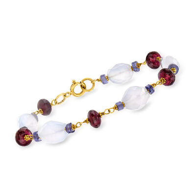 C. 1990 Vintage 21.90 ct. t.w. Multi-Gemstone Bracelet in 18kt Yellow Gold