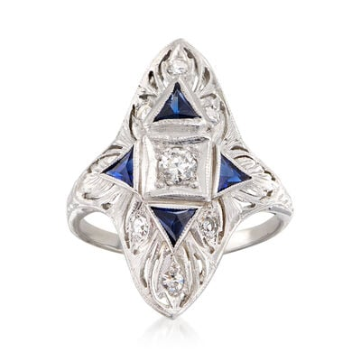 C. 1980 Vintage .25 ct. t.w. Diamond and .70 ct. t.w. Simulated Sapphire Ring in 18kt White Gold