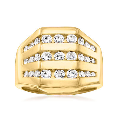 C. 1990 Vintage .90 ct. t.w. Diamond Multi-Row Ring in 14kt Yellow Gold