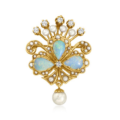 C. 1980 Vintage Opal and .50 ct. t.w. Diamond Pin/Pendant with Cultured Pearls in 14kt Yellow Gold