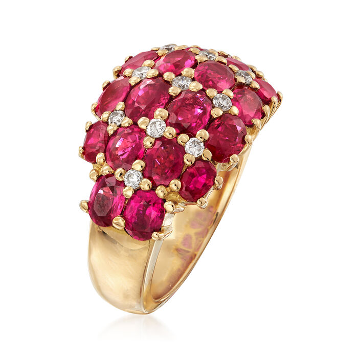 C. 2000 Vintage 5.73 ct. t.w. Ruby and .30 ct. t.w. Diamond Dome Ring in 18kt Yellow Gold
