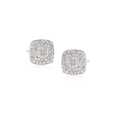 "ALOR ""Classique"" .75 ct. t.w. Diamond Square Stud Earrings in Stainless Steel and 18kt White Gold"