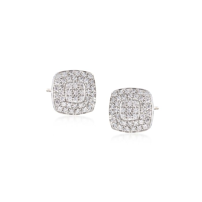 ALOR Classique .75 Carat Total Weight Diamond Square Studs in 18-Karat White Gold and Stainless Steel