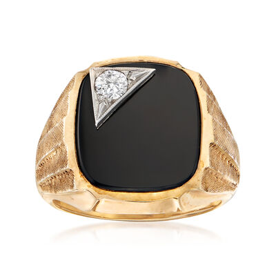 C. 1970 Vintage Black Onyx and .20 Carat Diamond Ring in 10kt Yellow Gold
