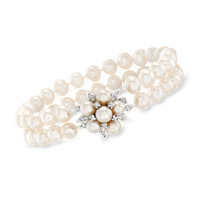 C. 1990 Vintage Cultured Pearl and .15 ct. t.w. Diamond Bracelet in 14kt White Gold