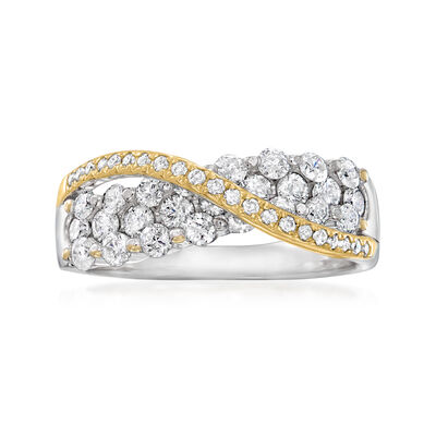 C. 1990 Vintage 1.20 ct. t.w. Diamond Crisscross Ring in 14kt Two-Tone Gold