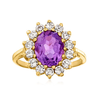 C. 1980 Vintage 2.75 Carat Amethyst and 1.00 ct. t.w. Diamond Ring in 14kt Yellow Gold