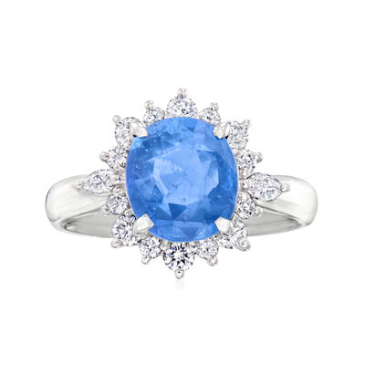 C. 2000 Vintage 2.83 Carat Certified Sapphire Ring with .47 ct. t.w. Diamonds in Platinum