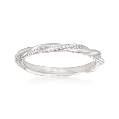 Gabriel Designs 14kt White Gold Twisted Wedding Ring, , default