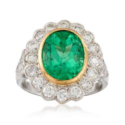 C. 1990 Vintage 4.50 Carat Emerald and 1.45 ct. t.w. Diamond Ring in 18kt Two-Tone Gold, , default