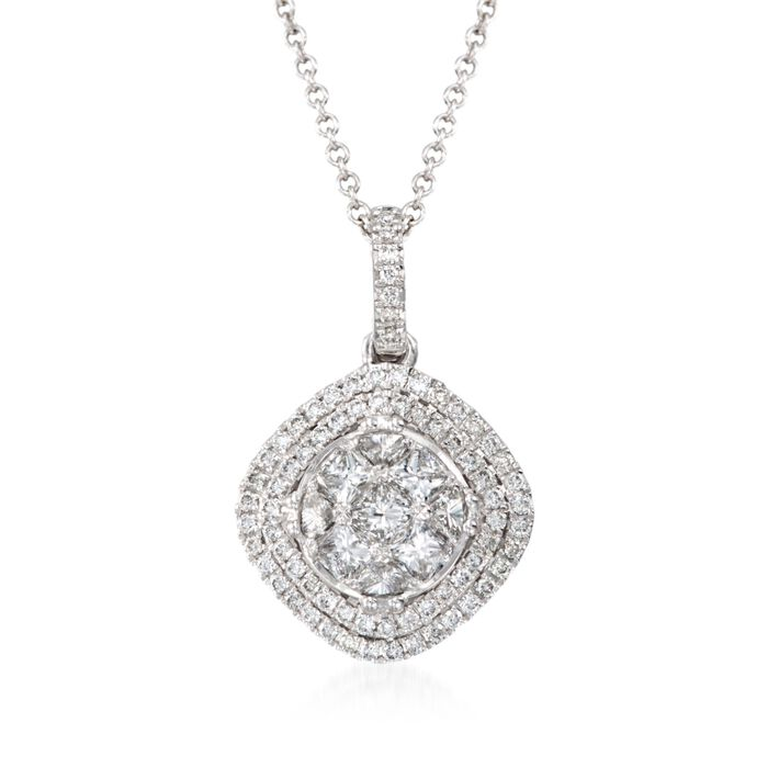 "Simon G. .67 Carat Total Weight Diamond Pendant Necklace in 18-Karat White Gold. 17"", , default"