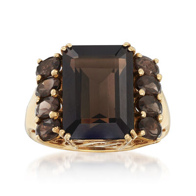 C. 1980 Vintage 8.50 ct. t.w. Smoky Quartz Ring in 14kt Yellow Gold, , default