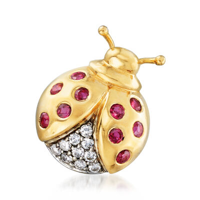 C. 1980 Vintage .50 ct. t.w. Ruby and .20 ct. t.w. Diamond Ladybug Pin in 14kt Yellow Gold, , default