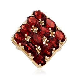 C. 1980 Vintage 7.20 ct. t.w. Garnet Three-Row Ring in 14kt Yellow Gold, , default