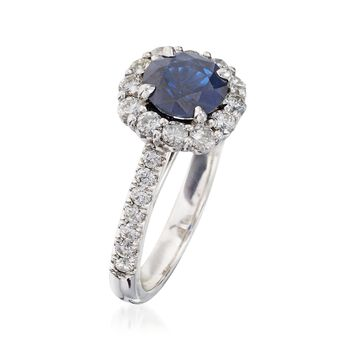 C. 2000 Vintage 1.50 Carat Sapphire and 1.00 ct. t.w. Diamond Ring in 14kt White Gold. Size 6.5