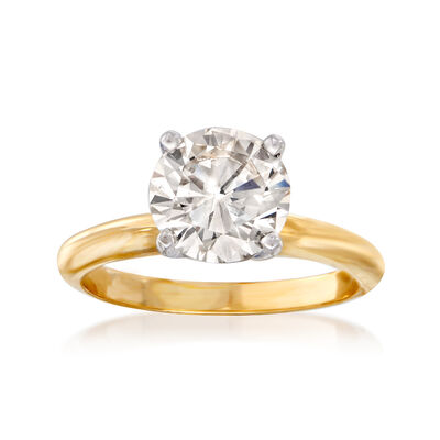 C. 1980 Vintage 2.10 Carat Diamond Solitaire Ring in 14kt Yellow Gold