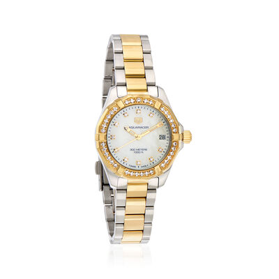 TAG Heuer Aquaracer Women's Mother-Of-Pearl and .70 ct. t.w. Diamond 32mm Watch in Two-Tone