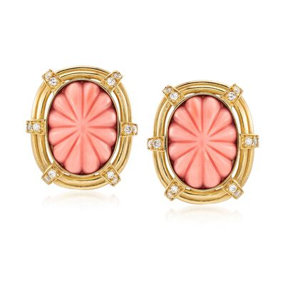 C. 1960 Vintage Pink Carved Coral and .65 ct. t.w. Diamond Earrings in 18kt Yellow Gold, , default