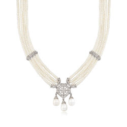 C. 1980 Vintage Cultured Pearl and 1.00 ct. t.w. Diamond Multi-Strand Necklace in 18kt White Gold, , default