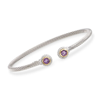 "Phillip Gavriel ""Italian Cable"" .60 ct. t.w. Amethyst Sterling Silver Cuff Bracelet with 18kt Gold"