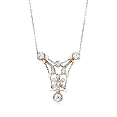 C. 1910 Vintage 2.8-3.2mm Cultured Pearl and 2.15 ct. t.w. Diamond Open Floral Necklace in Platinum and 18kt Gold, , default