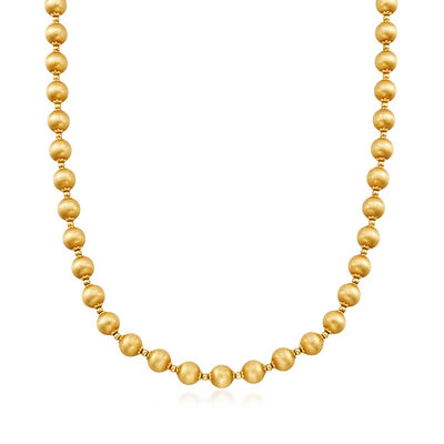C. 1970 Vintage Brushed 14kt Yellow Gold Bead Necklace