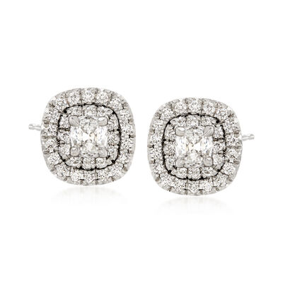 Henri Daussi 1.03 ct. t.w. Diamond Halo Earrings in 18kt White Gold, , default