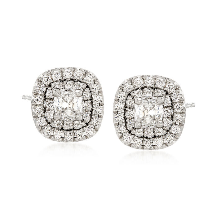 Henri Daussi 1.03 Carat Total Weight Diamond Studs in 18-Karat White Gold, , default