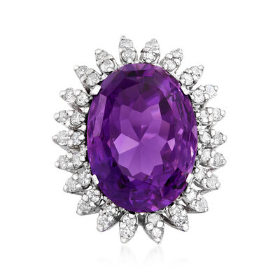 C. 1950 Vintage 25.15 Carat Amethyst and 1.55 ct. t.w. Diamond Ring in 14kt White Gold