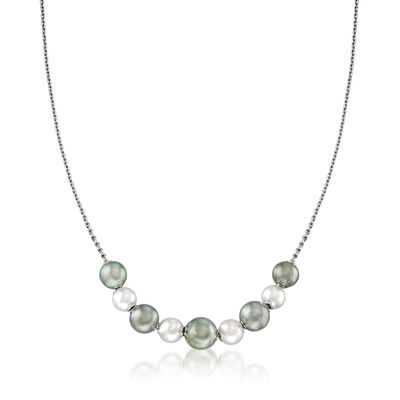 "Mikimoto ""Japan"" 7.5-10mm A+ Akoya and Black South Sea Pearl Adjustable Necklace in 18kt White Gold, , default"
