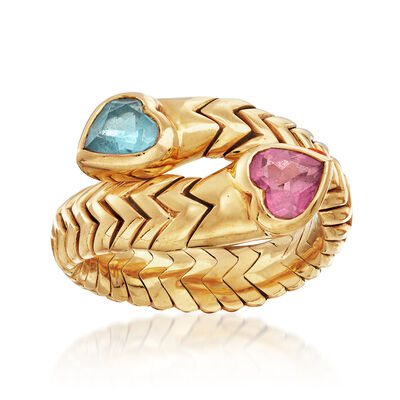 C. 1990 Vintage Bulgari .60 Carat Blue Topaz and .50 Carat Pink Tourmaline Heart Bypass Ring in 18kt Yellow Gold
