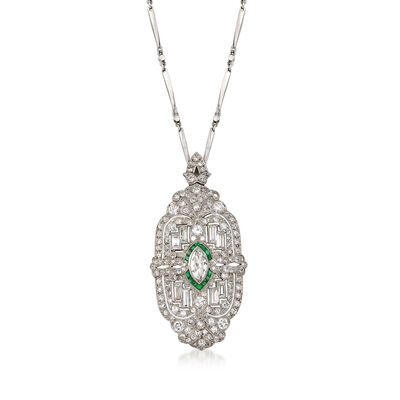 C. 1950 Vintage 4.55 ct. t.w. Diamond and .35 ct. t.w. Emerald Pin Pendant Necklace in Platinum, , default