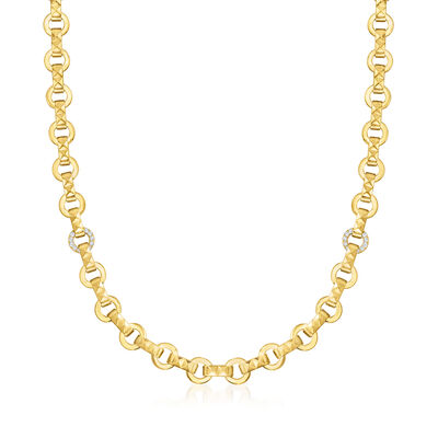 """Roberto Coin """"Obelisco"""" .28 ct. t.w. Diamond Link Necklace in 18kt Yellow Gold"""