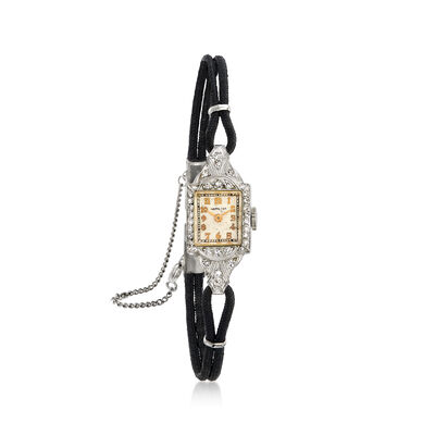 C. 1940 Vintage Womens .45 ct. t.w. Diamond 13mm Mechanical Watch in Platinum, , default