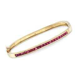 C. 1990 Vintage 3.00 ct. t.w. Square Ruby Bangle Bracelet in 14kt Yellow Gold, , default