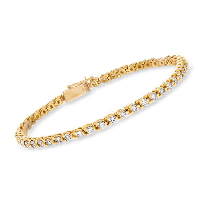 C. 1980 Vintage 2.65 ct. t.w. Diamond Tennis Bracelet in 14kt Yellow Gold, , default