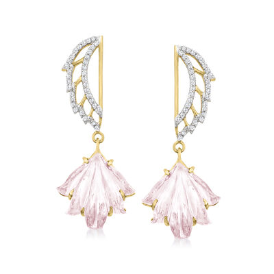 C. 2000 Vintage 8.13 ct. t.w. Rose Quartz and .40 ct. t.w. Diamond Flower Drop Earrings in 14kt Yellow Gold