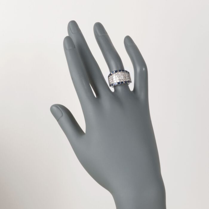 C. 1990 Vintage 2.70 ct. t.w. Diamond and 1.30 ct. t.w. Sapphire Ring in 18kt White Gold