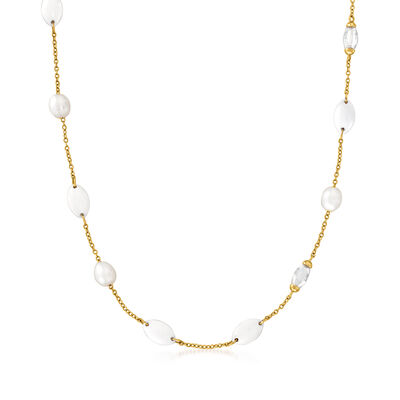 C. 2000 Vintage Mimi Milano 10x8mm Cultured Pearl and Multi-Gem Necklace in 18kt Yellow Gold