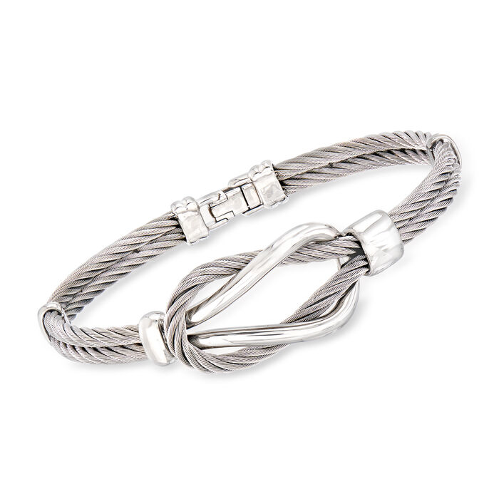ALOR Men's Gray Stainless Steel Cable Knot Bracelet