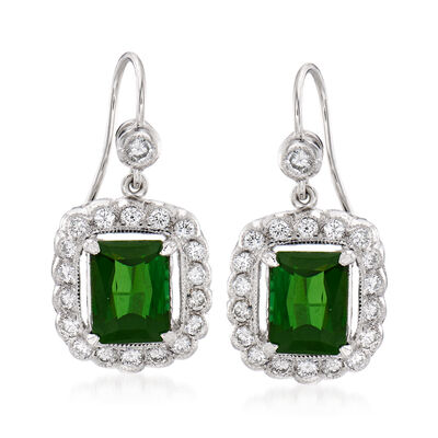 C. 1990 Vintage 3.00 ct. t.w. Green Tourmaline and .80 ct. t.w. Diamond Drop Earrings in 18kt White Gold