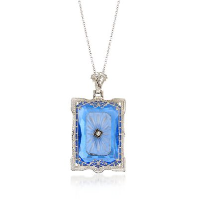 C. 1950 Vintage Engraved Rock Crystal and Blue Glass Pendant Necklace with Quartz in 14kt White Gold, , default