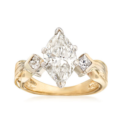 C. 1980 Vintage 2.25 ct. t.w. Engagement Ring in 14kt Yellow Gold, , default