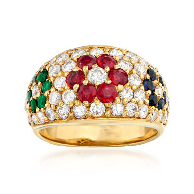 C. 1980 Vintage 1.45 ct. t.w. Diamond and 1.19 ct. t.w. Multi-Gemstone Flower Ring in 18kt Yellow Gold, , default