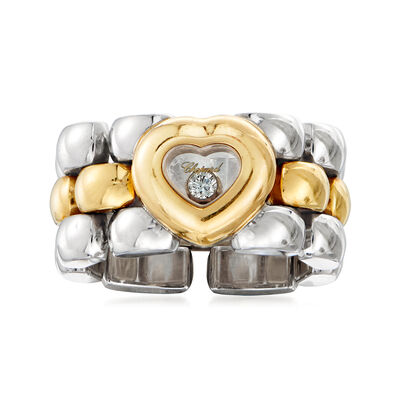 "C. 1990 Vintage Chopard ""Happy Hearts"" Diamond-Accented Link Ring in 18kt Two-Tone Gold, , default"
