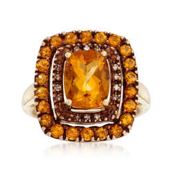 Vintage 2.80 ct. t.w. Citrine Cluster Ring With Diamond Accents in 10kt Yellow Gold, , default